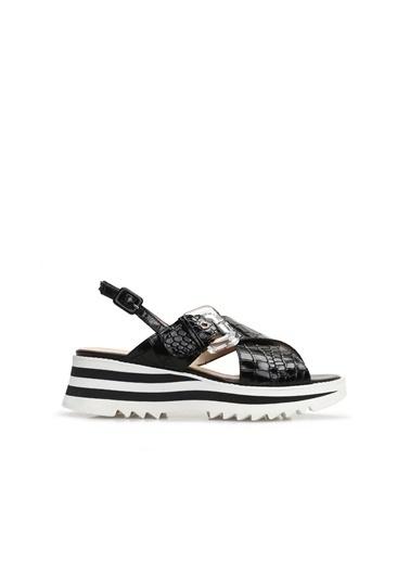 Divarese 5024273 Kroko Kadın Sandalet Siyah